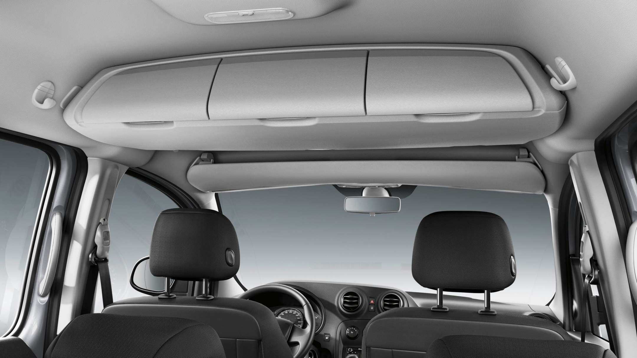 Citan Tourer, roof stowage shelf in the passenger compartment with 3 compartments