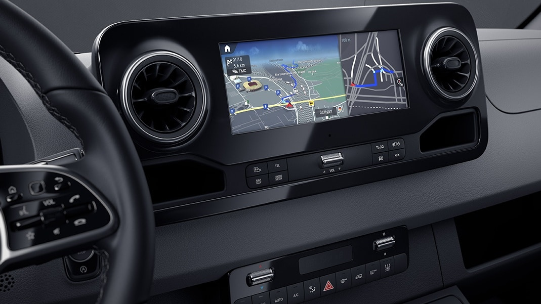 The MBUX infotainment system debuts in the new Sprinter.